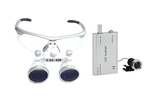 Portable Dental Binocular Loupes 3.5x420mm with Dental Headlight LED Lamp New CA Sold By EDDE DENTAL