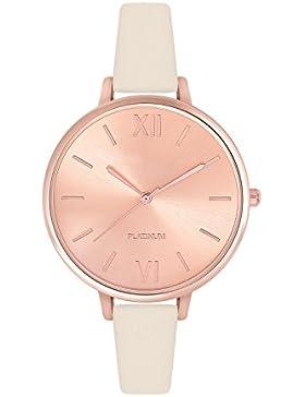Zierliche Fashion Damenuhr Farbe Roségold Creme Beige Uhr Edelstahl Armbanduhr Armbanduhren Damen Frauen Quarzuhr...