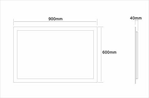 Badspiegel LED Spiegel GS084N mit Beleuchtung durch satinierte Lichtflächen Badezimmerspiegel (90 x 60 cm, kaltweiß) -