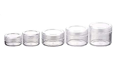 20g Empty Plastic Cosmetic Jars with Lids for Creams/Sample/Make-Up/Glitter Storage Refill Cosmetic Lotion Make up Balm Travel Tester For Xmas Halloween day Present Transparent (20g,