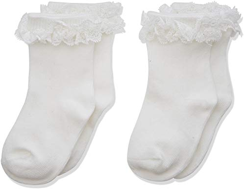 NAME IT Baby-Mädchen Strumpfhose NBFSOCK 2P NELACE NOOS, Weiß (Weiß Bright White), (Herstellergröße:62/68)