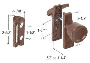Chocolate Brown Screen and Storm Door Tulip Knob Latch 1-3/4 Screw Holes by C.R. Laurence -