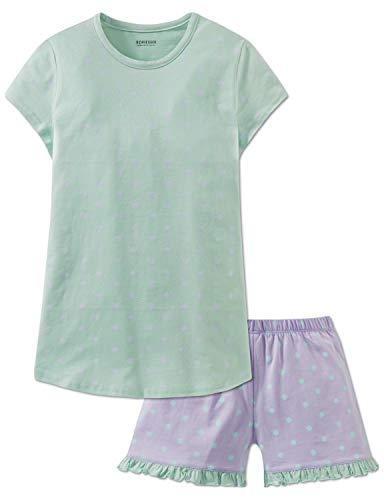 Schiesser Mädchen Anzug kurz Zweiteiliger Schlafanzug, Grün (Linde 705), 152 (Herstellergröße: S) -