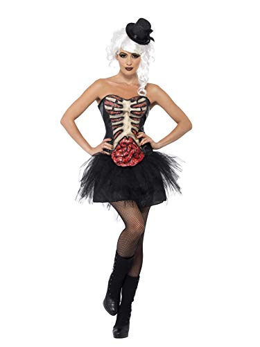 Smiffys, Damen Grotesk Burlesque Kostüm, Korsett mit Latex-Brustkrob und Darm, Größe: S, 41029 (Zombie Burlesque Kostüm)