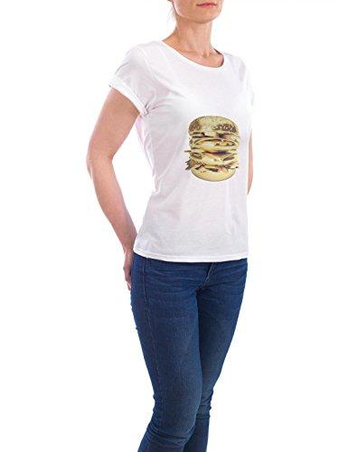 """Design T-Shirt Frauen Earth Positive """"Le Golden Big Mac"""" - stylisches Shirt Geometrie Essen & Trinken von Boris Draschoff Weiß"""