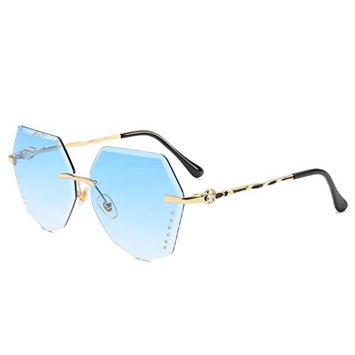 YLNJYJ Frauen Übergroße Diamant Sonnenbrille Randlose Gold Metallrahmen Sonnenbrille Vintage Schneidelinse Sonnenbrille Damen Shades Brillen
