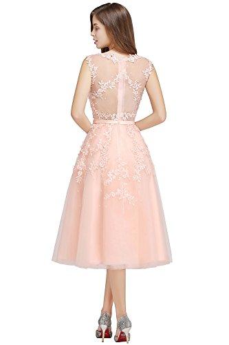 Damen Elegant Applique Tüll Abiballkleid Abendkleid mit Perlen Knilang Rosa 46