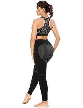 LooBoo Mujeres Leggings Skinny Geométrico Empalme Leggings Cintura Alta Elástico Yoga Fitness Deporte Pantalones...