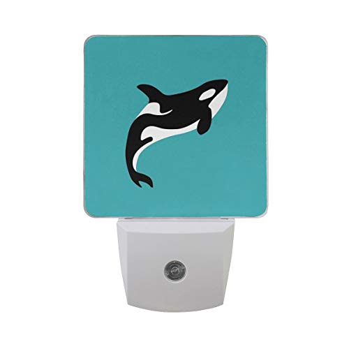 DFISKK Nachtlicht Set of 2 Killer Whale in Swimming Pool Orca Swim in Water On Blue Background Auto Sensor LED Dusk to Dawn Night Light Plug in Indoor for Adults -