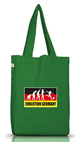 Shirtstreet24, Em / Wm 14 - Evolution Germany, Jutebeutel Stoff Tasche Earth Positivo (taglia Unica) Verde Muschio