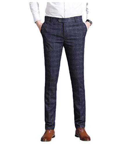 CuteRose Men's Straight Plaid Button Down Stretch with Pocket Plain-Front Pant Navy Blue 33 -