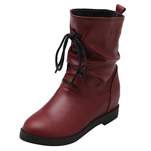 Watopi Damen Europäische Combat Boots Winter Retro Leder Schlupfstiefel Erhöhen Krawatte Kurze Stiefel Schuhe Stiefel