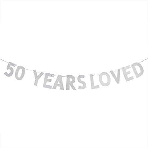 WeBenison 50Jahre Lieben Banner-50. Geburtstag/Hochzeit Anniversary Party Dekorationen Foto Requisiten-Silber