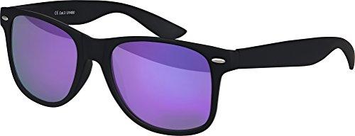 Balinco Hochwertige Nerd Sonnenbrille matte Rubber Retro Vintage Unisex Brille mit Federscharnier - 101 verschiedene Farben/Modelle wählbar (Schwarz - Lila)