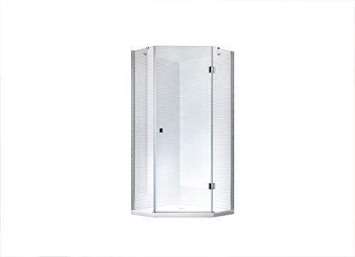 Aya - Fünf-Eck - Duschkabine - Dusche - Duschabtrennung - ESG-Glas - 8mm (100x100x200cm mit Duschtasse & Siphon)