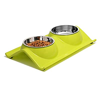 UPSKY Double Dog Cat bowls Premium Stainless Steel Pet Bowls With No-Spill Resin Station, Food Water Feeder for cats and small dogs … from DRT