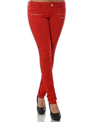 Damen Hose Treggings Skinny Röhre (weitere Farben) No 15528, Farbe:Rot;Größe:38 / M