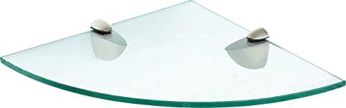 IB-Style - Mensola in vetro | 20 variazioni | Angolo Mensola - 350 x 350 x 8 mm satinato + Clips Bano nero