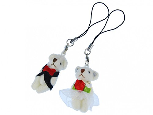 Miniblings 2X Bär Handyanhänger Brautpaar Hochzeit Braut Bräutigam Bären Weiß