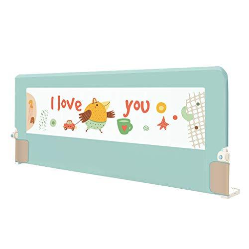 ZRX-Bett Geländer Baby Bettgitter Zelt für Kinder-Bettgitter/One-Click-Klappschutz Einzelnes Kleinkindschutzblech/Kindersicherheitsbettschutz Höhe 80 cm, grün, robust und fest -
