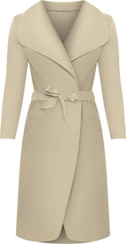 WearAll - Lange Gürtel Taschen öffnen Coat Damen Promi Wasserfall Jacke Cape - Stein - Eine Größe