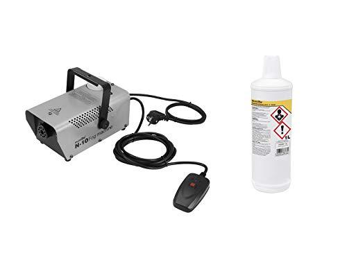 Eurolite Set N-10 Nebelmaschine in silber + -B- Basic Nebelfluid 1 Liter | Qualitäts Nebelflüssigkeit aus Deutschland (Laser Nebel)