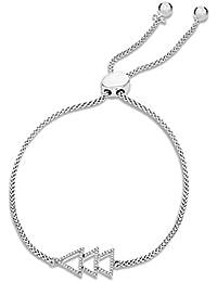 Pave Prive Women's 925 Sterling Silver Round White Diamonds Christmas Tree Bolo Charm Bracelet