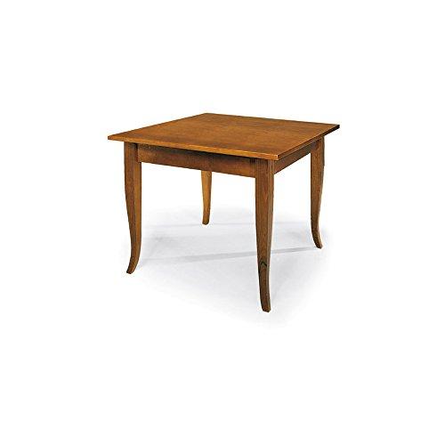 Tavolo allungabile a libro, stile classico, in legno massello e mdf con rifinitura in noce lucido - mis. 100 x 100 x 78