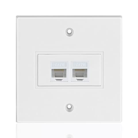 TNP Ethernet Network RJ45 Faceplate Faceplate Wall Plate - Dual (2 Port) RJ45 Cat6 Cat5e Cat5 Connector Socket Wiring Plug Jack Decorative Face Cover Outlet Mount Panel Female to