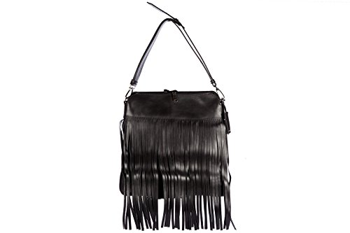 Miu Miu borsa donna a spalla shopping in pelle nuova city calf fringes nero