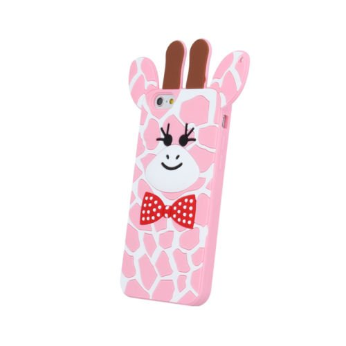 "BACK CASE 3D Giraffe 2 Für Apple iPhone 7 4,7"" Apple iPhone 7 Silikonhülle Hülle Etui Flip Cover Silikon Tasche (violett / violet) rosa / pink"