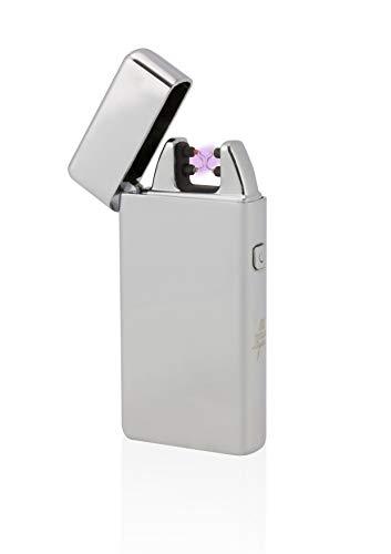 TESLA Lighter T05 Lichtbogen Feuerzeug, Plasma Double-Arc, elektronisch wiederaufladbar, aufladbar mit Strom per USB, ohne Gas und Benzin, mit Ladekabel, in Edler Geschenkverpackung, Silber