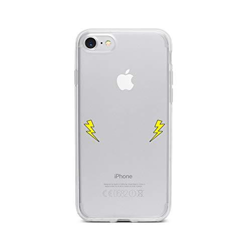 licaso Apple iPhone 8 Handyhülle Smartphone Apple Case aus TPU mit 2 Blitze Held Print Motiv Slim Design Transparent Cover Schutz Hülle Protector Soft Aufdruck Lustig Funny Druck