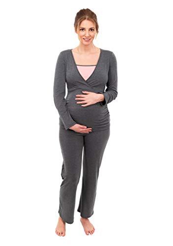 Bequeme Passform Pyjama (Herzmutter Stillpyjama-Umstandspyjama | Zweifarbiger Schlafanzug für Damen | Nachtwäsche für Schwangerschaft-Stillzeit | Pyjama-Set mit Stillfunktion | Lang-Langarm | 2700 (L, Grau/Rosa))