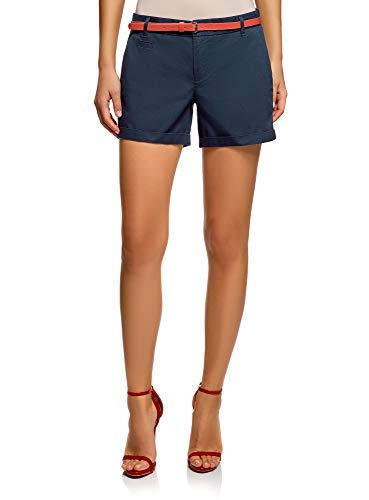 oodji Ultra Damen Baumwoll-Shorts mit Gürtel, Blau, Herstellergröße DE 34 / EU 36 / XS (Shorts Frau)