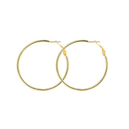 Focalook donna orecchini a cerchio sottile, orecchini semplici cerchi, stile hip hop, 50 mm diametro, colore oro(confezione regalo)