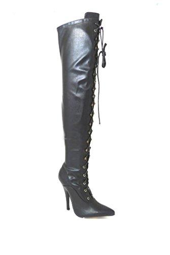 Herren Schwarz Overknee-Stiefel Schenkel-Hoch Sexy Stiletto-Absatz Erotische Fetisch-Stiefel, Verschiedene Designs , Mehrfarbig - Black Matt (11720) - Größe: 43 EU  (Knie Fetisch Stiefel)
