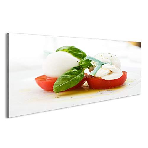 uf Leinwand Mozarella-Käse mit Tomaten und Basilikum in Olivenöl-Dressin Wandbild, Poster, Leinwandbild MHF ()