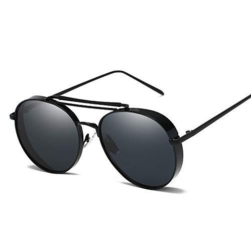 WULE-Sunglasses Unisex Fashion Classic Vintage Style Dicken Metallrahmen Farbfilm UV-Schutz Unisex-Sonnenbrille (Color : 02 schwarz, Size : Kostenlos)