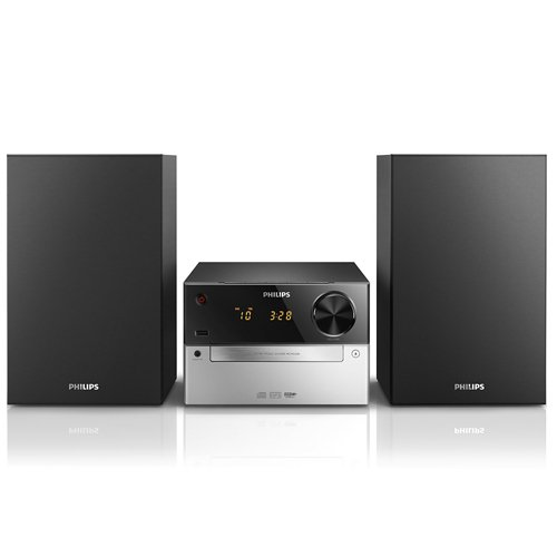 Philips MCM2300/12 - Microcadena (FM, CD, MP3, USB), negro