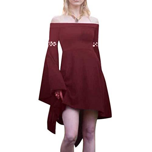 Damen Mittelalter Langarm Kleid - Retro Renaissance Viktorianisch Kostüm Mini Kleider mit Ausgestellte Ärmel für Halloween Party Cosplay Vier ()