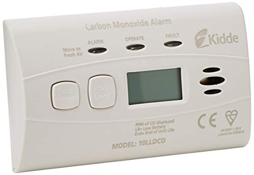 Kidde 10LLDCO Kohlenmonoxid Alarm Digital Display mit versiegelten Akku, Standard Alarm