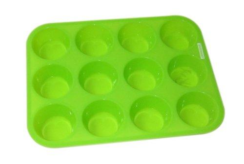 Silikon Muffin-Form für 12 Stück Muffins Cupcakes Backform Backförmchen Kuchenform (lebensmittelecht + geschmacksneutral)