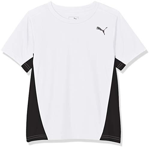 PUMA Jungen Cross The Line Tee T-Shirt, White Black, 164 Line-tee