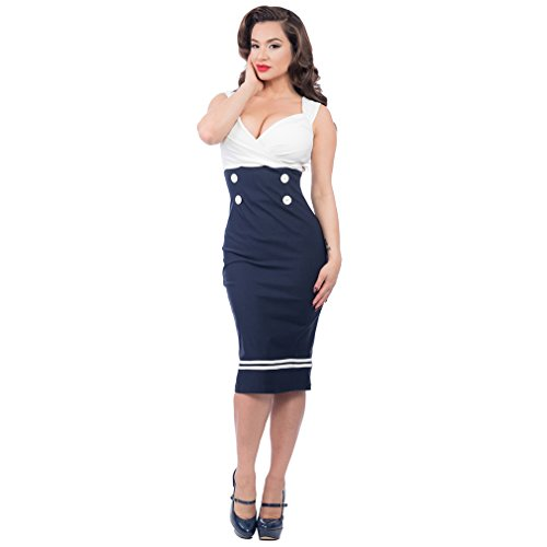 Vintage Kleid Bleistiftkleid - Set Sail Diva Dress Dunkelblau