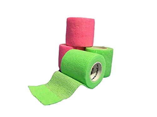 lisacare-fixierbinde-5cmx45m-4er-set-neongrun-neonpink-je-2x-kohasive-bandage-wundverband-pflasterve