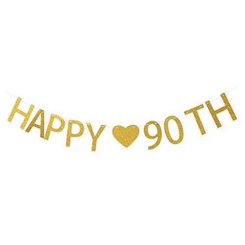 Blesiya Glitter Glücklich 20/55/65/90. Banner Geburtstag Party Girlande Dekoration - 90