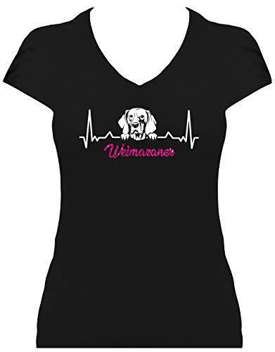 BlingelingShirts Shirt Damen Glitzer Weimaraner Herzschlag Heartbeat Hund Weimaraner Love Graue Hund, T-Shirt, Grösse L, schwarz Druck weiß und pink GL GL -