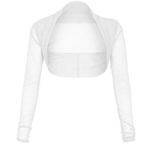 Fast Fashion - Haussement Manches Longues Floral Devant De Dentelle Bolero Ouverte - Femmes (XXL = 48-50, #Blanc)
