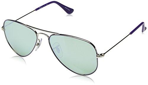 RAYBAN JUNIOR Unisex-Kinder Sonnenbrille Aviator Junior, Top On Violet/Green Flash Silver, 52